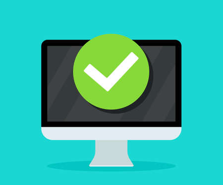Icon of complete update in computer. Notification of done update in laptop. Tick of approve on pc screen. Check of task on desktop of computer. Symbol of accept, ok. Concept of successful app. Vector. Ilustrace