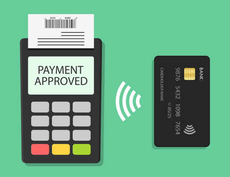 Payment card with contactless terminal. Tap on pos for pay. NFC machine for wireless transaction. Paypass concept. Icon for electronic sale. Buy with system of credit money. Approval purchase. Vector. Ilustrace