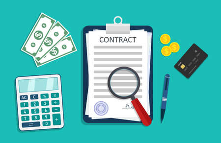 Contract icon with money, calculator, pen and credit card. Paper document with signature about agreement. Work in legal business. Financial loan, deal, rental or sale with stamp in contract. Vector.