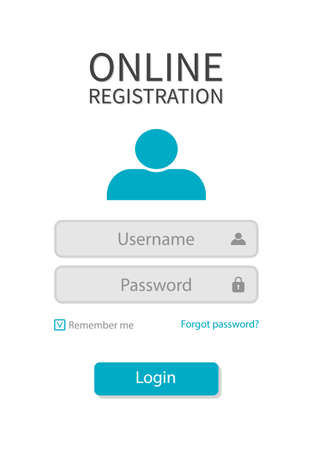 Form registration with login and password for user. Web page with username and button of register. Icons of interface on website. Template for window of account with boxes and ui. Menu panel. Vector.