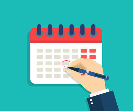 Calendar with hand. Hand with pen that mark circle in date of schedule. Deadline icon for appointment, event, business. Due time for payday, holiday, meeting. Calender with week, month, year. Vector.
