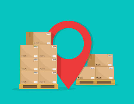 Cargo logistic. Carton boxes on pallet for delivery with map pointer. Goods stack on warehouse for storage and shipping of courier. Crates on wood palettes with gps service for distribution. Vector. Ilustrace