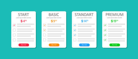 Price list of subscriptions. Template of comparison table for hosting plans. Design infographic of banner with checklist and chart. Layout of web column with cost of options product. UI menu. Vector. Ilustrace