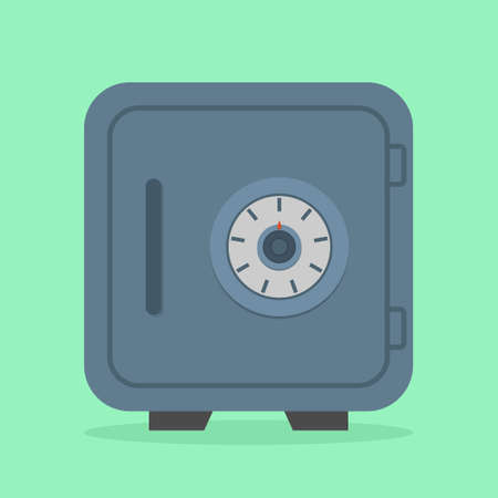 Safe box. Icon of vault of money in bank. Metal closed safe with lock for safety protection of deposit and wealth. Symbol of secure storage. Dial with password in front on steel door for trust. Vector