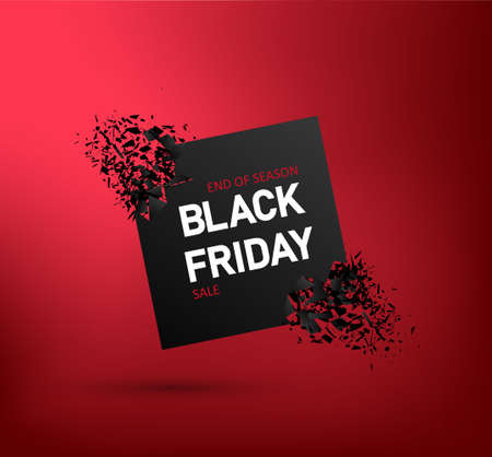 Black friday sale banner with explosion. Discount offer on red background. Flyer for promo. Poster with abstract blast for special price. Card of promotion on black friday. Template for offer. Vector.