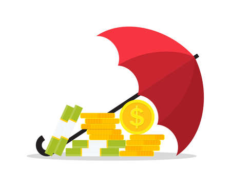 Money under an umbrella. Protect and insurance of money in bank. Icon of financial safety. Concept of save business, income. Shield of finance guarantee. Security of economy, budget, wealth. Vector.
