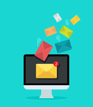 Email on computer screen for marketing. Newsletter in mail inbox. Icon of send or receive message. Notification letter in mailbox for promotion business. Concept of communication, advertising. Vector.