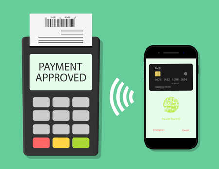 Payment from phone on pos terminal. Pay card for transaction from mobile. Icon of contactless online payment. Nfc technology. Credit card with money in smartphone app. Electronic checkout. Vector. Ilustrace