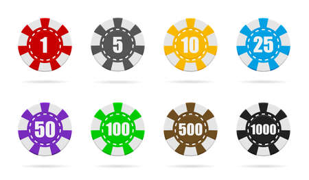 Poker chip of casino. Token or coin isolated on white background. Set of red, blue, black, green, gold chips for game in Las Vegas. Icon for gambling. Jackpot in roulette. Logos for bet, play. Vector.