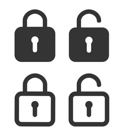 Lock icon. Padlock unlock. Password for closed of locker on website. Symbol of private and security in line style. Open safe with key or login. Set of graphic icons for protection concept. Vector.