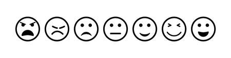 Face icon. Smile and sad emoji. Happy and bad smiley for feedback. Outline emoticon of sentiment, satisfaction. Survey for customers. Unhappy, normal, positive, angry, dislike feeling. Vector. Ilustrace