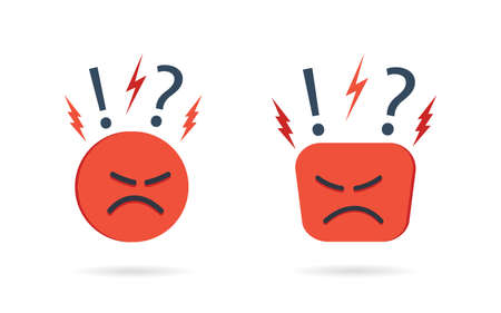Angry and hate icon. Difficult, bad customer. Negative opinion and experience from client. Unhappy mood on face. Concern, furious and pessimism. Feedback from user. Emoji reaction concept. Vector. Ilustrace