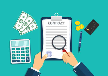 Contract icon. Paper document with pay agreement. Businessman is paperwork, calculate money, stamp signature. Sign of legal deal with rules. Form for lease, tax, loan. Hand write of contract. Vector.