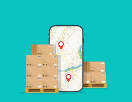Delivery of box. Logistic of cargo on mobile. Package in carton boxes goods on warehouse with order in smartphone. Crates on pallets for parcel, shipment, export. Icon of storage, online cargo. Vector