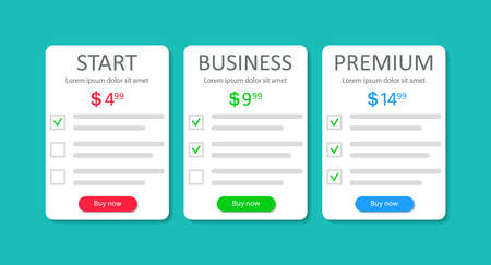 Table-comparison of price and plans. 3 templates of subscriptions. List of product with tariff. Infographic column chart with compare. Design box and banner for website, hosting and layout. Vector. Ilustrace