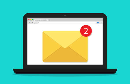 Mail in computer. Email window in laptop screen. Newsletter with alert. Icon of message and notification. Receive new document in online. Digital electronic envelope for marketing. PC desktop. Vector.