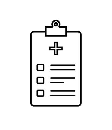 Icon of health patient. Registration of patient on clipboard for check of health. Checklist with data about diagnosis in hospital. Medic outcomes in clinic. Outline icon of medical form. Vector.