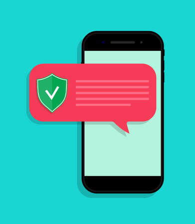 Phone protect from virus. Notification with alert about secure in smartphone. App for safe from fraud in mobile. Icon for anti spam in telephone. Scam attack, hackers threat, defense from them. Vector Ilustrace