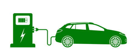 Car electric charge. Icon of vehicle charge station. Green eco charger. Symbol of nature energy. Sign for hybrid motor. Fast electro charging to fuel auto battery. Station, plug and cable. Vector. Ilustrace