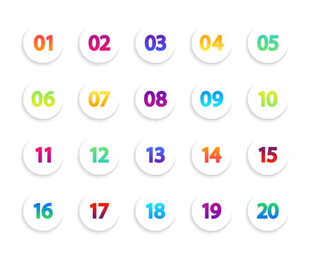 Bullet icons. Numbers in white circle. Round gradient points for infographic. List of creative buttons from 1 to 20. Set of modern circular pointers. Color markers for flyer, tag and interface. Vector