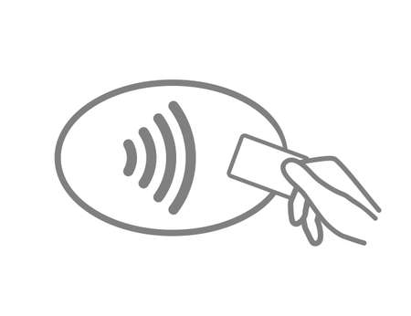 Icon pay. Contactless payment logo. Tap of card for cashless. Symbol of nfc. Wave pass to terminal from card in hand. Wireless reader on pos terminal. Chip in credit card for paypass. Vector. Ilustrace
