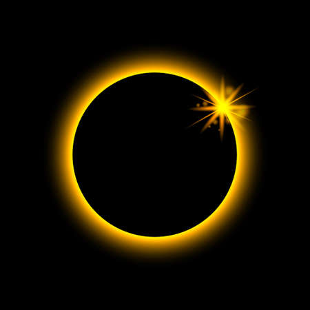 Total eclipse solar. Sun planet glows in ring. Circle earth in fire. Moon light on night space. Full eclipse with red aura on black outer. Astronomy mystery. Abstract cosmic star with shine. Vector. Ilustrace