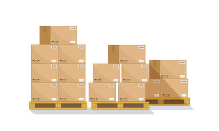 Box on pallet in warehouse. Carton parcel for storage and cargo. Cardboard boxes in front on wooden palettes. Icon of delivery, freight. Shipping crates with goods for distribution, logistic. Vector.