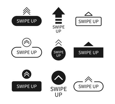 Swipe up icon. Arrows with buttons. Slide in story. for scroll and drag in social media app. UI for action in internet. Black template with modern design. Outline mockup for blog. Vector.