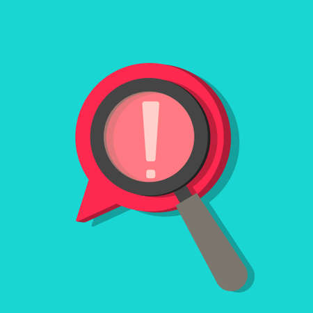 Identify risk icon. Icon of censored. Search with magnifier in comment. Focus on exclamation. Data with censor in cartoon style. Sign of warning and sanction. Safety of content in internet. Vector.