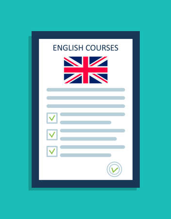 English language icon. for course of english on class. british flag in school. Test for speak and grammar. Check of study of foreign languages. Dictionary for vocabulary and knowledge. Vector.
