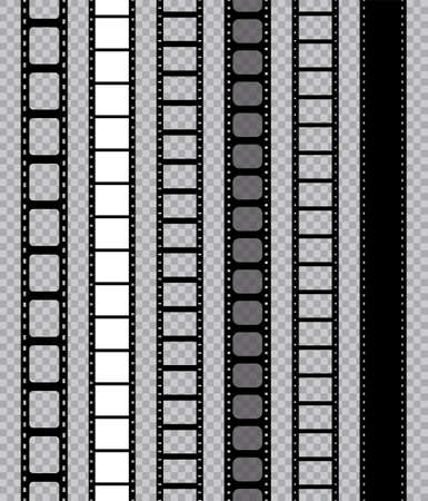 Film strip for movie camera. Feel with filmstrip. Tape with frame for photo, cinema. Mockup of roll of strip in negative with borders for video. Icon of photography, cinematography hollywood. Vector. Ilustracje wektorowe