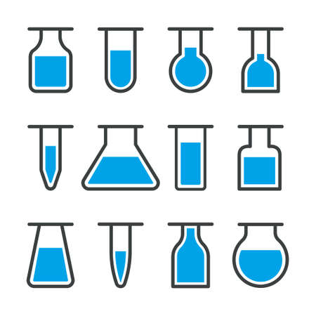 Lab icon. Beaker and flask for test in laboratory. Medical tube for science, chemistry. Equipment for research in chemical, pharmacy, toxic and genetic scientific.
