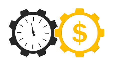 Time is money. Icon with clock and cog. Circles with hours and gear. Cash dollars after work. Beneficial investment and speed growth wealth. Profit in minute. Vector.