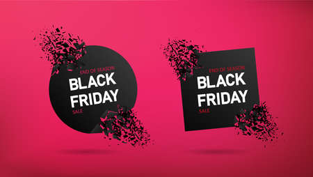 Sale on black friday. Promotion banner on red background. Poster with special offer and discount. Black flyer with red price. Design for holiday template.