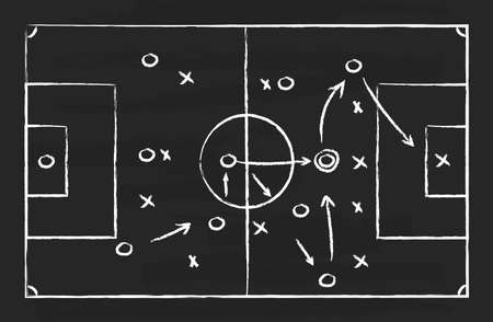 Soccer tactic on board. Football strategy on chalkboard. Plan for game. Blackboard with chalk for sport coach. Sketch scheme with arrows for attack in goal. Playbook for training of team. Vector.