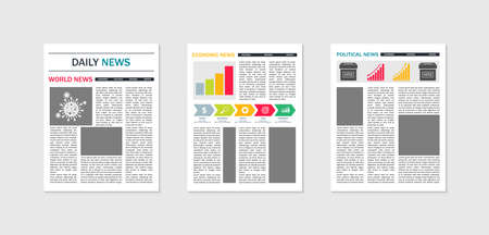 Newspaper mockup. Template of paper news. Tabloid of news. Magazine with articles and text. Layout of page of journal in front. Design of cover for press. Headline of advertising on poster. Vector.