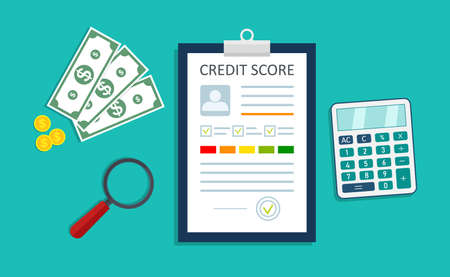 Credit score. Infographic of loan report. Personal credit history. Good finance rate. Document with graph and chart. Check information about payment. Approve debt on paper with stamp. Vector. Vettoriali