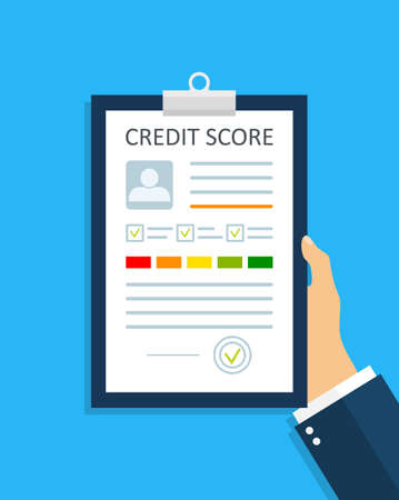 Credit score with report. Credit history with rate. Check personal finance document for loan. Business information with infographic in hand. Stamp of approve for debt or payment on paper. Vector.