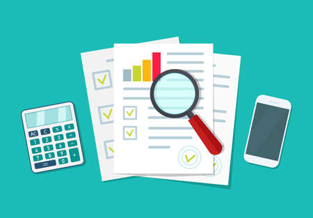 Audit icon. Financial research and report. Document with verification data and result of analyze. Auditor, accountant check on paper. Chart on sheet for seo analytics, control quality, review. Vector. Vettoriali
