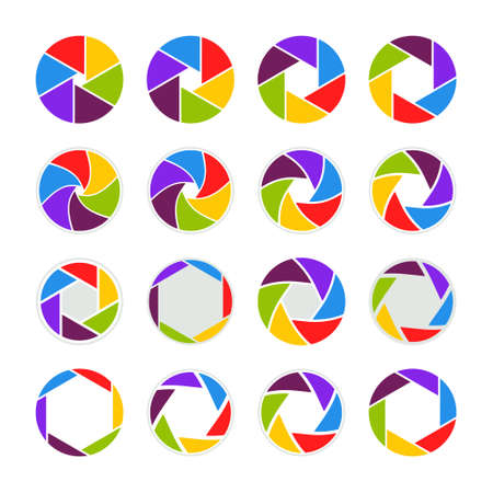 Camera icons. Icon of shutter, lens, aperture for photography. Color circles for photo. Modern rainbow wheels for studio. Spectrum colors of camera. Icons for creative design. Digital concept. Vector.