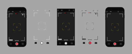 Camera in phone. Photo camera on screen of mobile with interface. UI for selfie in smartphone. App for photo and record video in cellphone. Icons of focus, frame, flash, zoom, grid and buttons. Vector