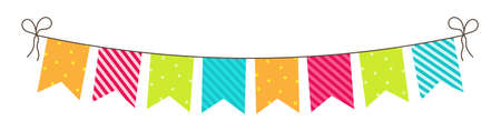 Party bunting. Birthday flags and garland. Fun decoration for celebration. Hanging carnival buntings with rope isolated on white background. Colorful bright flags for anniversary and surprise. Vector.