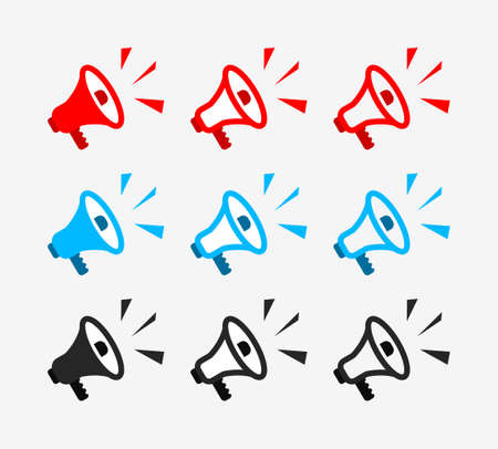 Icon of loudspeaker. Loud bullhorn for announce. Symbol of shout of speaker. Horn of alert for public. Megaphone in line style. Graphic sign of media, news, marketing and social protest. Vector.