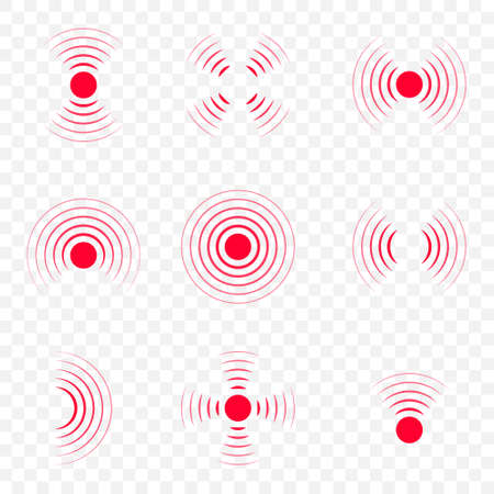 Pain icon with point, red waves. Hurt of body. Target and coverage of ache. Circle of sore in muscle, neck, stomach, throat and joint. Medical logo for therapy. Symbol of headache, migraine. Vector.