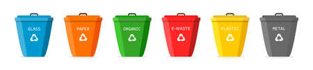 Recycle trash bin. Icons of bin for plastic, glass, organic, paper and metal waste. Segregate of rubbish for recycle. Dustbin of garbage. Symbol of container of trash. Banner for disposal. Vector. Vettoriali