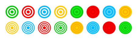 Target icons. Dartboard with goal. Accuracy focus in bullseye. Archery with aim. Darts with objective. Symbol of game. Strategy of competition and challenge. Circles with centeres for hunting. Vector. Vettoriali