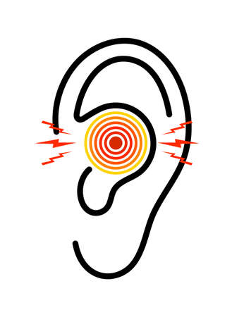 Ear icon with pain. Otitis from infection. Earache with tinnitus. Ache in middle ear with deaf. symbol of otorhinolaryngology. Logo of symptoms of inflammation and illness. Care to body. Vector.