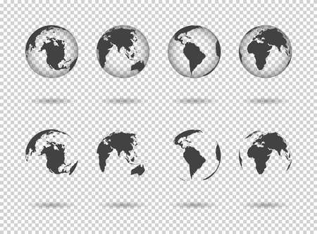 Globe earth. Icons of world maps. Set of 3d globus with europe, asia, africa, usa, australia and china. Gray simple planets on transparent background. Design graphic for logistics and travel. Vector.
