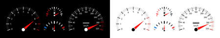 Car speedometer. Dashboard of auto with gauge of speed, tachometer, odometer. Icons isolated on black and white background. Panel of meter of fuel, engine rpm and temperature. Sport car. Vector.