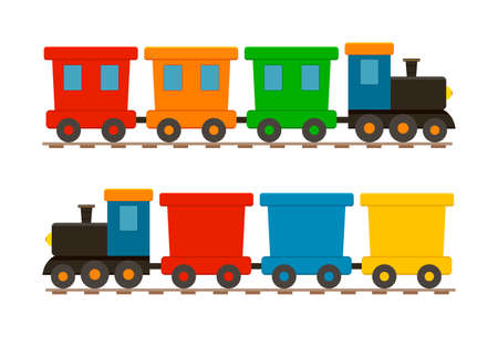 Toy train for kid. Cartoon child locomotive with wagons. Icon of cute train on railway. Isolated set on white background for children. Locomotive with engine and wheels on rails for holiday. Vector.